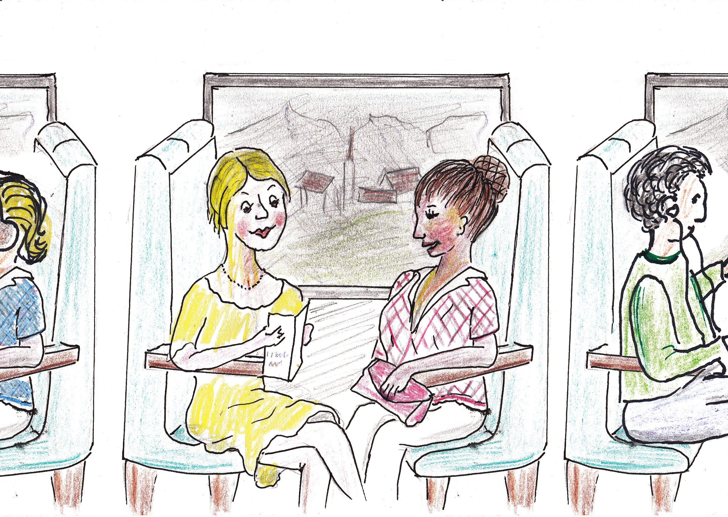 Alt und Jung im Zug. – Illustratio