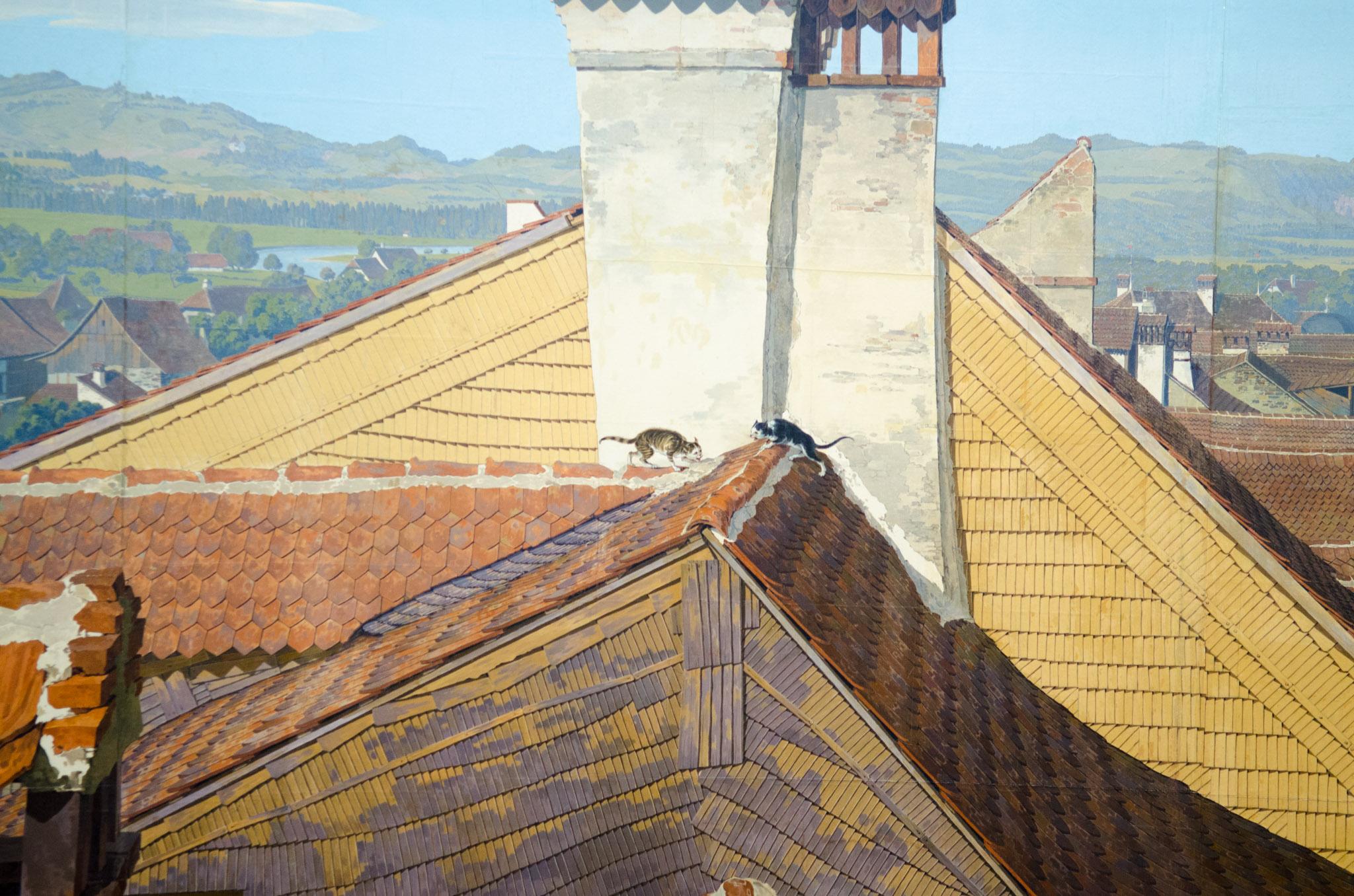 Die beiden Katzen auf den Dächern Thuns.